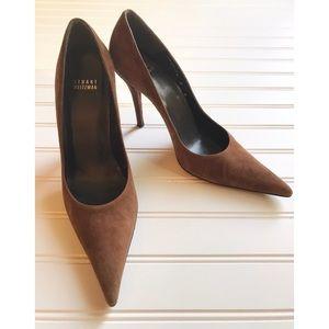 Stuart Weitzman pointed toe suede high heels brown